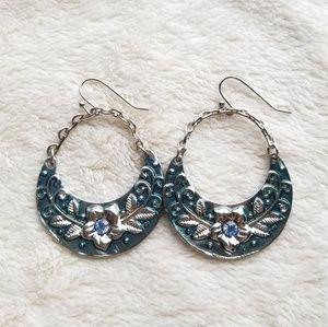 Jewelry - Silvet-Tone Blue Crystal Flower Hoop Drop Earrings